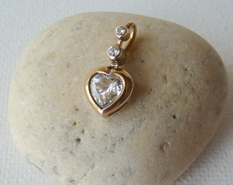Gold Cubic Zircon Heart Pendant 8kt Pendant, Zirconia Yellow Gold Heart Pendant, CZ Bridal, Dainty Zircon Jewelry, Retro Gold, Wedding Gold