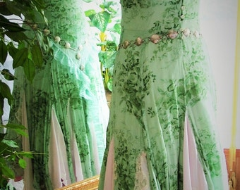 Size 8 - 10 Green pink tattered shabby chic steampunk funky one off dress