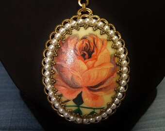 Vintage Necklace Large Apricot Cabbage Rose Oval Pendant in Filigree and Faux Pearl base Ornate Chain Made in West Germany