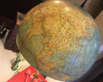 Vintage Globe Reclained Hanging Light - Unique Map Classroom Decor - Desk Lamp