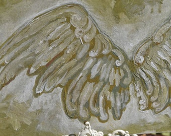 Angel Wings, Shabby Chic Painting,  Origingal Painting,  Wings, 9x12 Acrylic on canvas