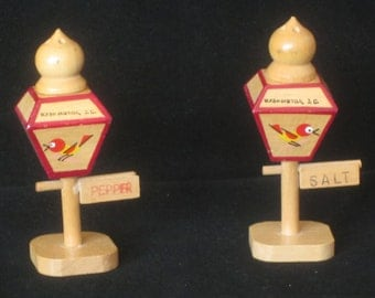 Vintage Japanese Wooden Salt and Pepper Shaker Souvenirs of Washington DC