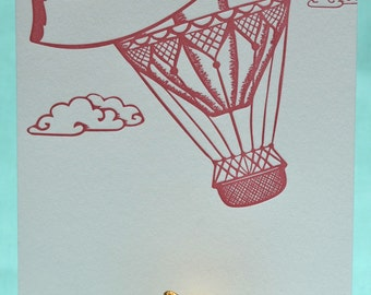 Letterpressed Hot Air Balloon Card - ready for digital print