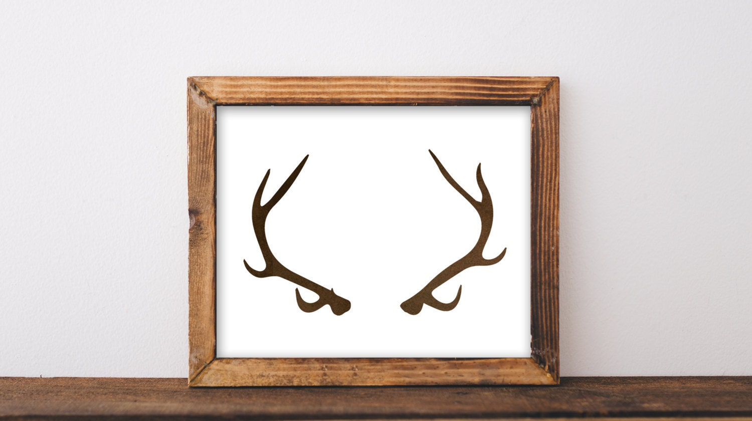 Printable deer antler decor wall art print by thehappypioneer for Antler wall decor