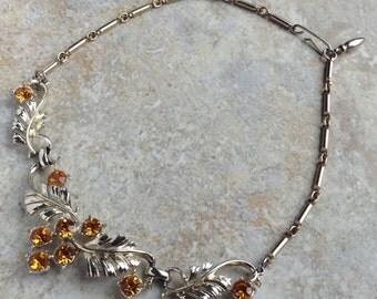 Coro Vintage Orange Rhinestone Choker Bridal Wedding Prom Grad Necklace