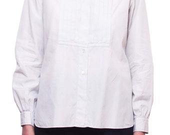 BUBERRY Vintage Pleated Bib Tuxedo Shirt SIZE 38 Off White Burberrys UK