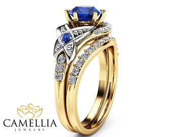 Sapphire Wedding Engagement Ring Set 14K Two Tone Gold Rings With Half Eternity