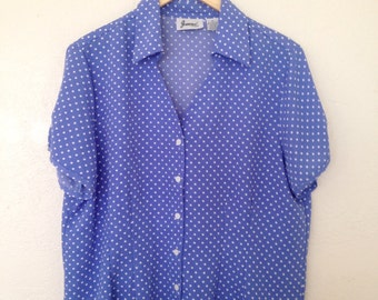 vintage blue polka dot top / button up / short sleeves / v neck / xl