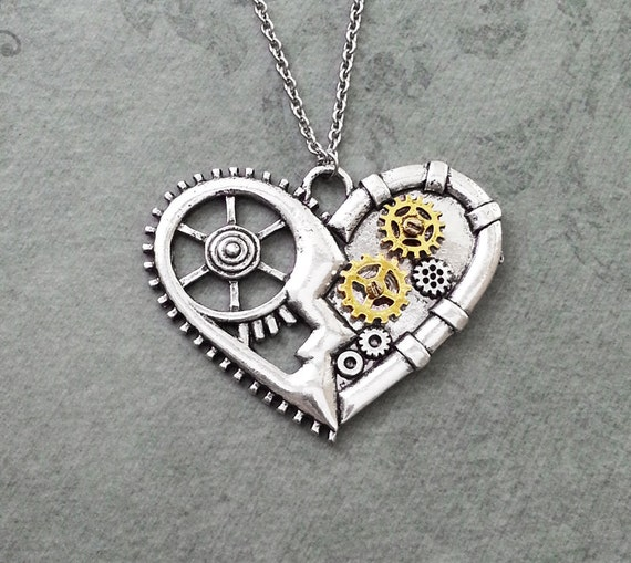 Heart necklace large mechanical heart jewelry gears and cogs heart necklace large mechanical heart jewelry gears and cogs steampunk heart charm necklace pendant necklace steampunk mozeypictures Choice Image