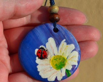Handmade air dry clay necklace. Hand painted jewelry. Flowers and ladybug painting. Flowers necklace.