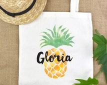 personalized womens,gift for women,best friend,monogram bag,teen gift,personalized teen,monogram tote,book bag,pineapple,gift for coworker