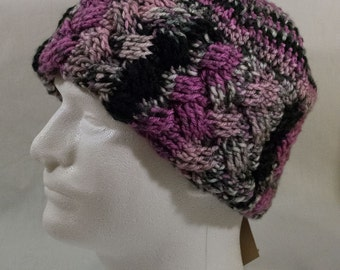 Crocheted Winter Hat, Women's Large. Magenta, black, and grey.