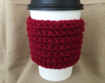 Maroon Ribbed Handmade Crochet Coffee Cup Cozy
