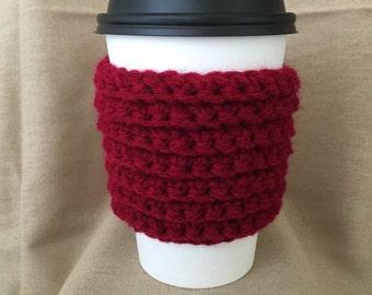 Maroon Ribbed Handmade Crochet Coffee Cup Cozy
