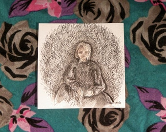 I Don't Know How I've Become So Disagreeable -- miniature drawing, framed