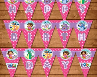 Dora The Explorer Printable Banner Pink - Dora Birthday Party Banner -- Dora The Explorer Party Favors -- Dora The Explorer Birthday Banner