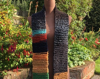 Special Edition! Chunky wool hand-knitted RagtagTwo medium length multicoloured scarf; wooly scarf; chunky wool scarf