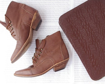 Cowgirl Cowboy Leather Ankle Boots / Brown Genuine Leather Lace Up Roper / Matte Leather Riding boots / Gift for her / 6.5 US / 4.5 UK