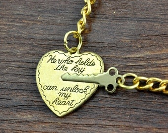 Heart and Key Keychain, Keyring, Personalized He who holds the key can unlock my heart - his and hers 2 Keychain set, Heart and Key Keychain