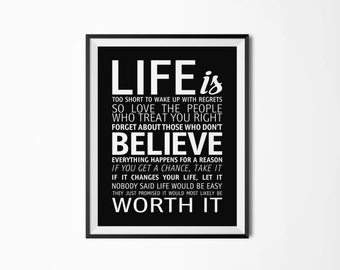 Life is worth it, Motivational poster, Printable poster, Wall art, Instant download, Printable quote, Printable poster, scandinavian poster