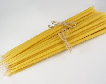 "Discount Packs - 100% Pure Natural Beeswax Candles Dipped Taper Church Handmade in Greece Byzantine Orthodox (12"" by 1/4 inch)"