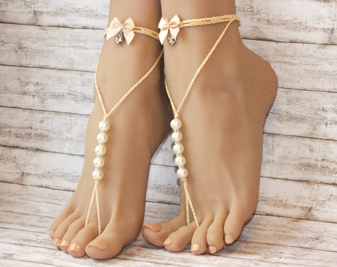 Beaded barefoot sandals Foot Jewelry Bridal Foot Jewelry Barefoot Sandals Destination Wedding lace barefoot sandals