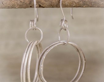 Sterling Silver Hoops, Triple Silver Hoops, Silver Hoop Earrings, Large Sterling Earrings