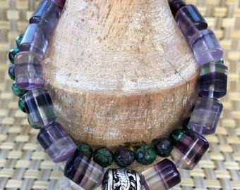 Charm Bracelet, Chakra Bracelet, Tibetan Bracelet, Gemstone Bracelet, Beaded Bracelet, Dragon Beads, CLARITY Bracelet