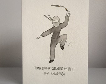 I Am A Ninja handmade watercolor card
