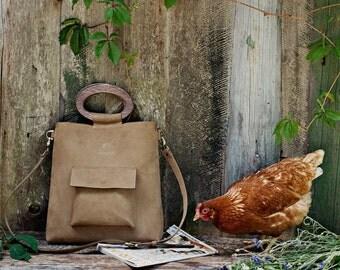 Leather tote bag - wooden handles bag - crossbody tote - bag with long handle - bag with front pocket - leather tote - wooden purse handles