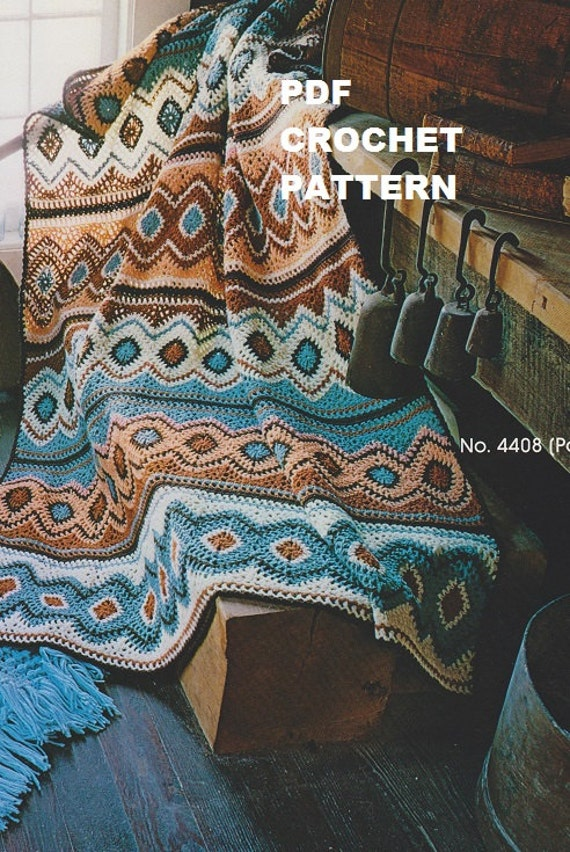 Crochet Navajo Afghan Pattern #KC0014, Intermediate Skill Level ...