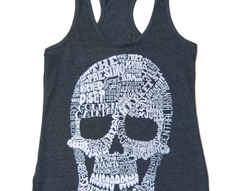 Womens San Francisco Skull Map Racerback Tank Top - Available in S M L XL