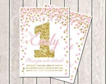First Birthday Invitation Pink Gold Girls Birthday Confetti Invitation Pink Gold Invitation Personalized Invitation Pink Birthday Invitation