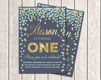 Blue Mint Gold Navy Confetti Birthday Invitation First Birthday Invitation Navy Gold Boy Birthday Invitation Any Age Printable Invitation