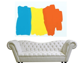 Large Abstract Painting On Canvas, Minimalist Canvas Art,blue orange yellow
