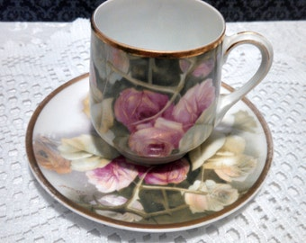 "Vintage ""Donatello"" Roses Demitasse Cup and Saucer by Rosenthal, Hand Painted Bavarian Porcelain, Signed by Artist, Circa 1938-1956"
