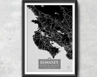 Guanacaste Costa Rica Map with Coordinates, Guanacaste Wall Art, Guanacaste Map, Map Art, Map Print, Guanacaste Print, Guanacaste Art, Map