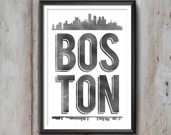 BOSTON Typography Print, Boston Print, Boston Poster, Boston Gift, Boston Art, Boston Pride, Boston City, Boston Decor, Boston Skyline, Love