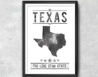 Texas State Typography Print, Typography Poster, Texas Poster, Texas Art, Texas Gift, Texas Decor, Texas Print, Texas Love, Texas State, Map