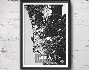 San Diego California Map with Coordinates, San Diego Wall Art, San Diego Map, Map Art, Map Print, San Diego Print, San Diego Art, San Diego