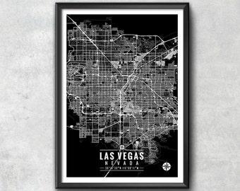 LAS VEGAS Nevada Map with Coordinates, Las Vegas Wall Art, Las Vegas Map, Map Art, Map Print, Las Vegas Print, Las Vegas Art, Las Vegas Gift
