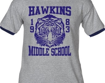 Hawkins Middle School Tigers 1983 - Distressed Premium T-Shirt - Many Color Options - Ringers/Blends/Tank Tops - STRANGER THINGS