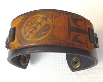 Black and Brown leather cuff (40 mm width) - Star Wars Inspired