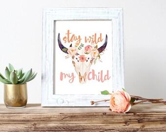 Stay Wild Nursery Art, Cow Skull, Wall Art, Feather, Boho, Watercolor  (116)