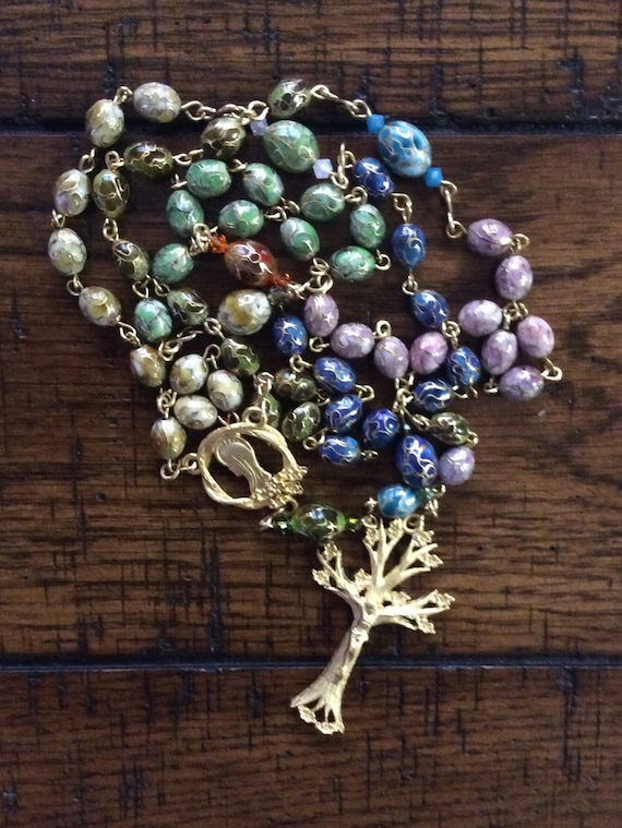 CLOISSONE BEAD ROSARY with Tree of Life Center and Crucifix Hand Linked with Brass Wire