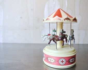 Sweet Vintage Yap's Musical Carousel - Vintage Merry Go Round - Baby Nursery Music Box - Vintage Musical Toy - Child's Carousel - Carnival