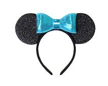 Blue Bow Minnie Ears, Frozen Minnie Ears, Frozen Mickey Ears, Disney Ears, Bow Mickey Ears, Mickey Ears, Disneyland Ears, Blue Minnie Ears