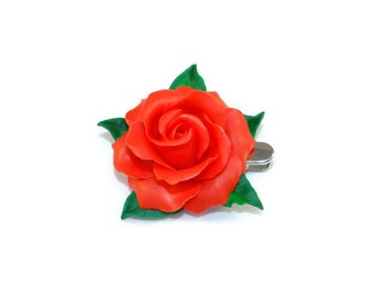 Red pink Barrette in polymer clay