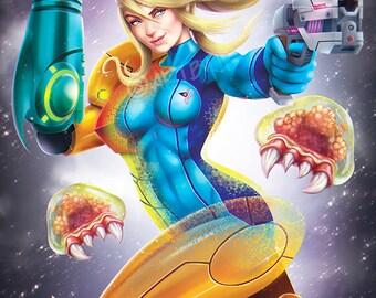 Metroid - Epic Nintendo Samus Aran inspired Painting Premium Quality Giclee Archival Poster Print