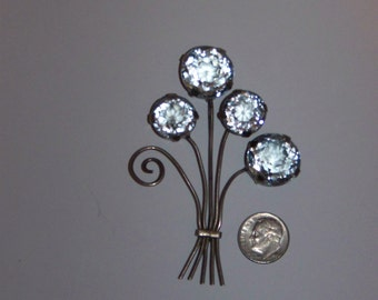 Vintage Rhinestone and Silver tone Pin Brooch